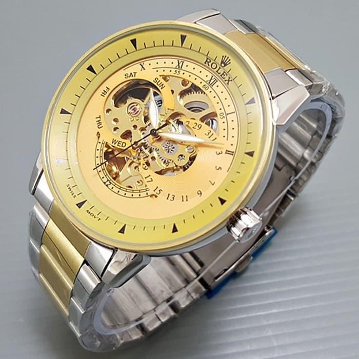 Jam tangan pria / Jam tangan pria original / Jam tangan pria murah / Jam tangan pria terbaru / Jam tangan pria swiss army / Jam tangan pria terbaik / Jam Tangan Pria / Cowok Rolex Skeleton Alfa Rantai Kombi plat Gold DISKON MURAH!!!