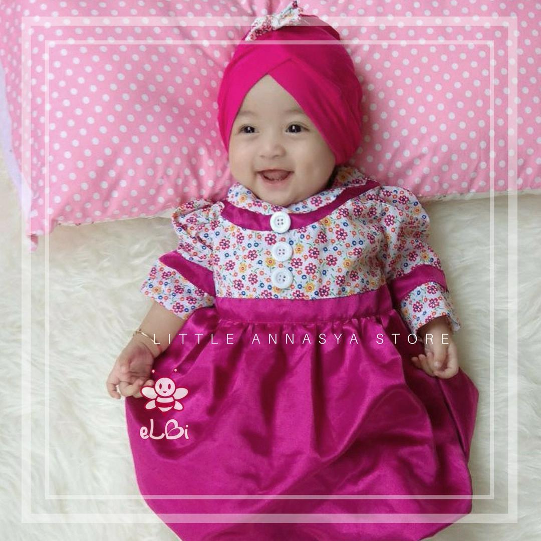 Baju Muslim Bayi Perempuan / Gamis Bayi / Baju Muslim Anak / Baju Pesta Muslim Bayi / Blooming Dress (6bln-1thn)