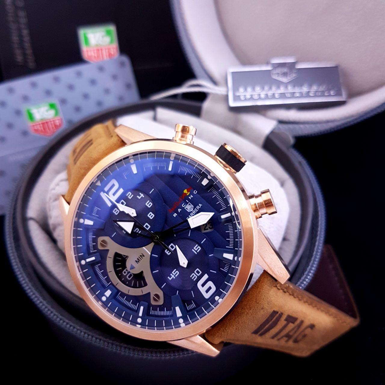 Jam Tangan Pria TAGHeuer_Carrera Redbull Racing Blue-Brown Leather
