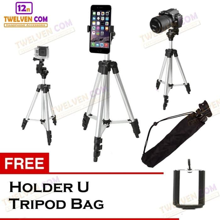 Weifeng 3110 Tripod Stainless with 3x Extend Leg - Suite For Smartphone & Camera - Black + Free Holder U