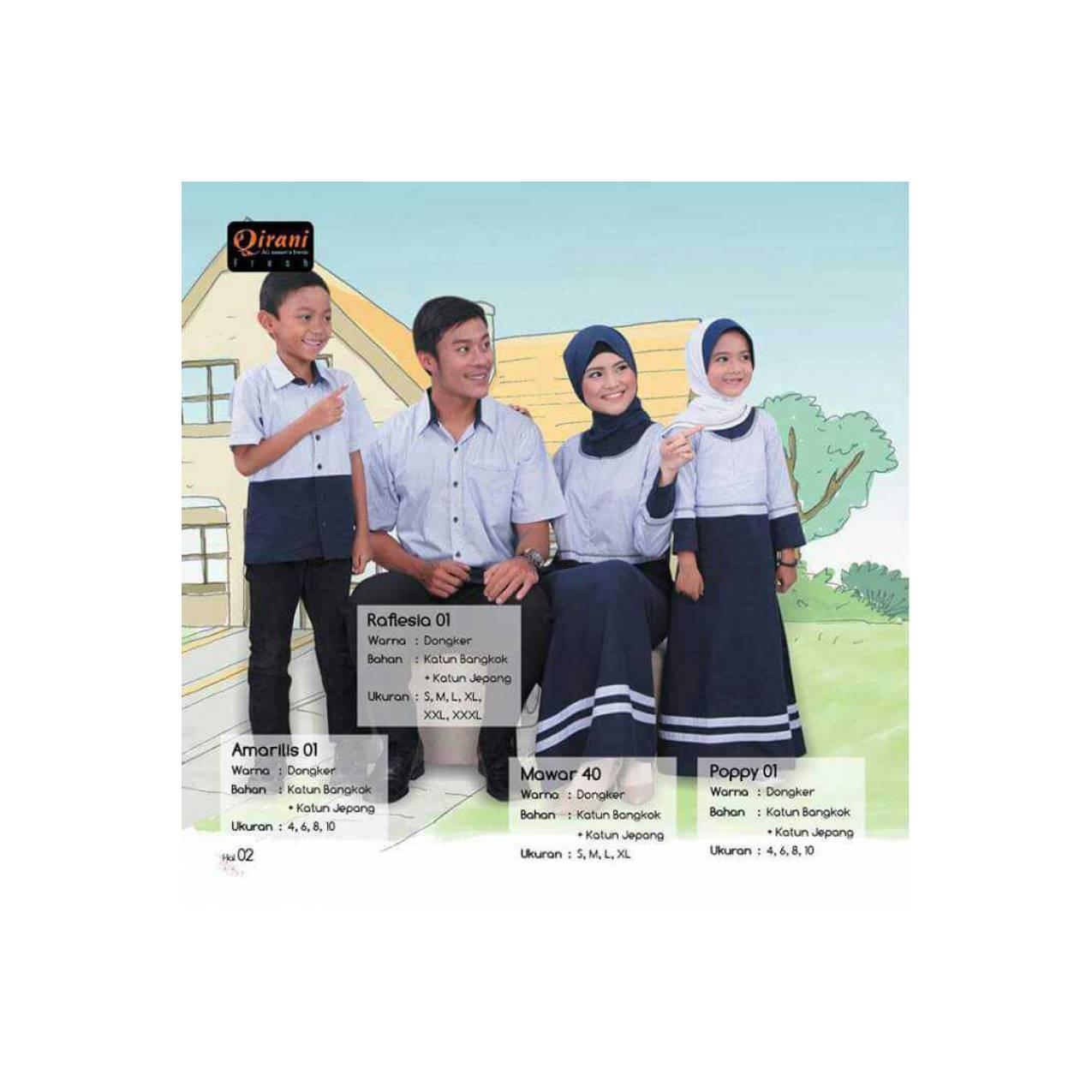 Terbaru - Qirani Sarimbit - Gamis Kemeja Katun Dongker/Busana Keluarga