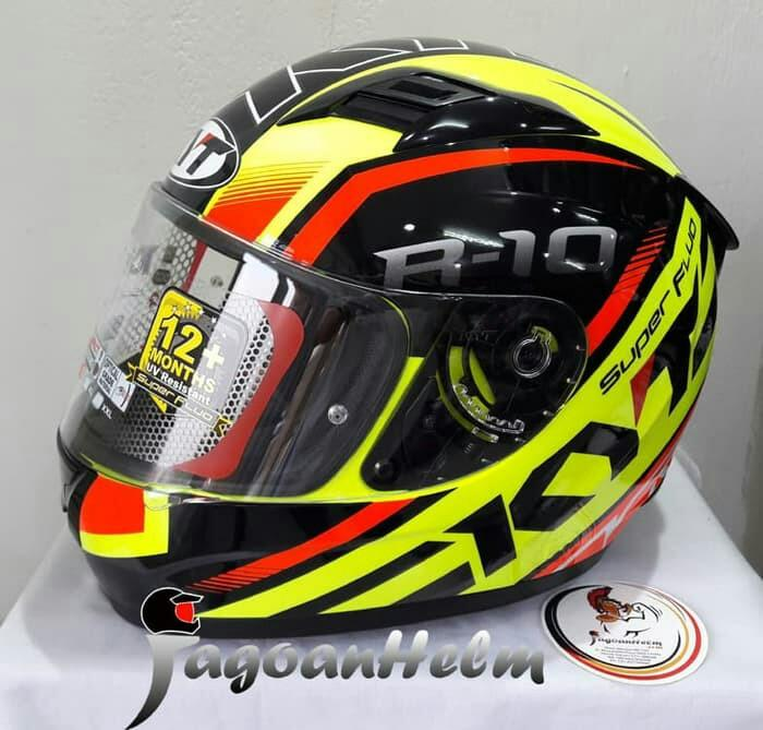 Helm KYT R10 Flat Visor Clear / Black Yellow Red