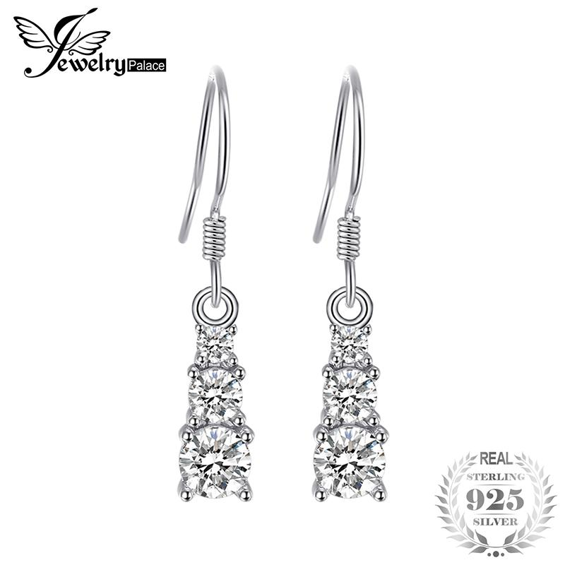 JewelryPalace Trio 0.7CT Round Cubic Zirconia Drop Earrings 925 Sterling Silver