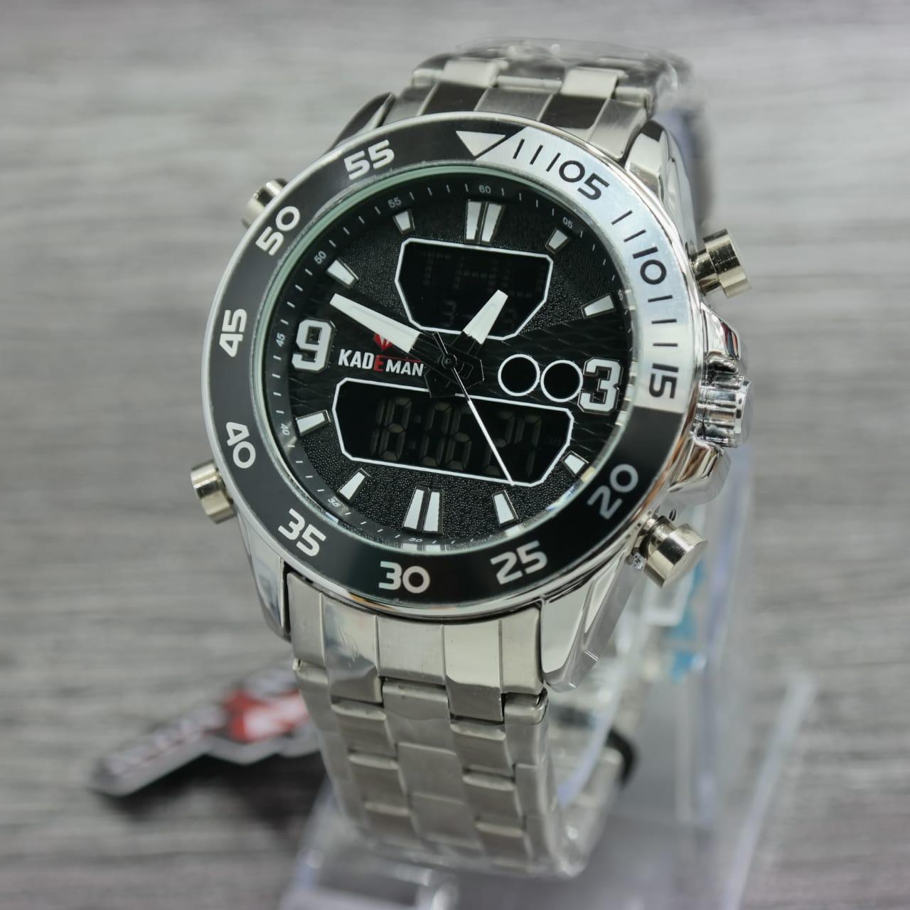 Kademan D45H160K016SLVHTMPTH Dualtime Jam Tangan Pria Stainless Steel Chain - Silver Hitam Putih