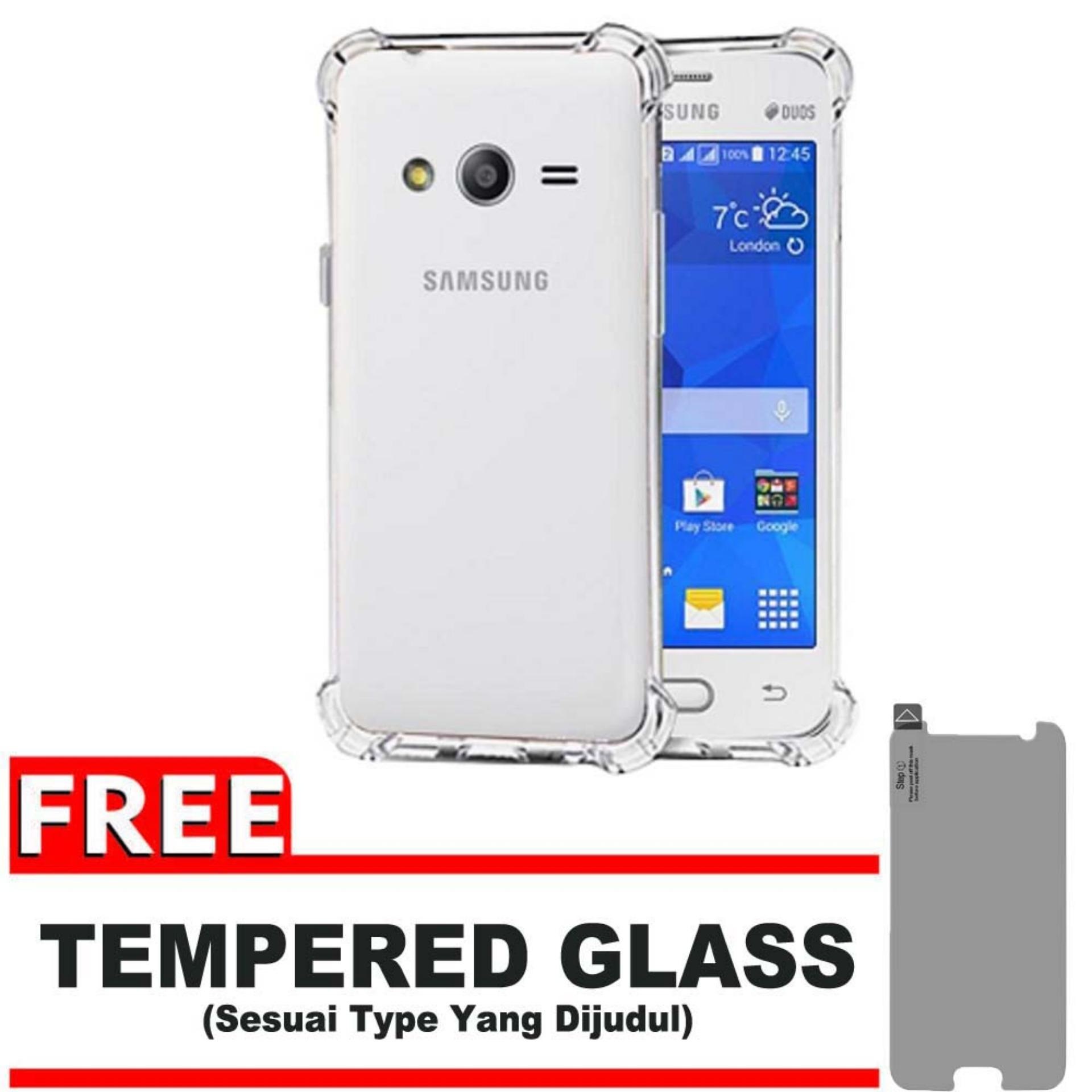 ShockCase for Samsung Galaxy V / V+ Plus / Ace 4 / Duos / G313 | Premium Softcase Jelly Anti Crack Shockproof - Gratis Free Tempered Glass Protector - Transparan