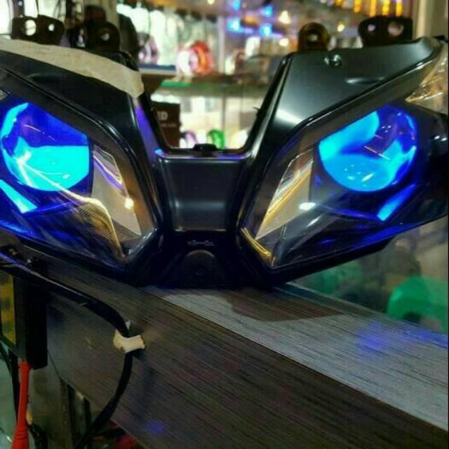 Projektor Hid Model ZX 636 Buat Ninja 250 F1 ( 1Set Mika Lampu) Lampu Projektor Ninja 250 1Set