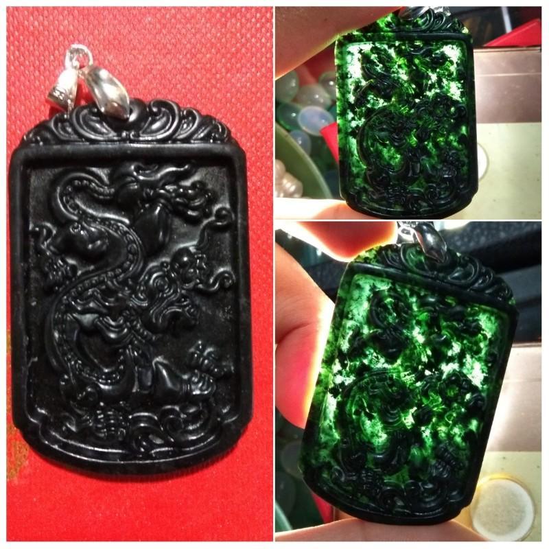 Liontin Batu Ukir Black Jade Naga Laut By Saung Biru.