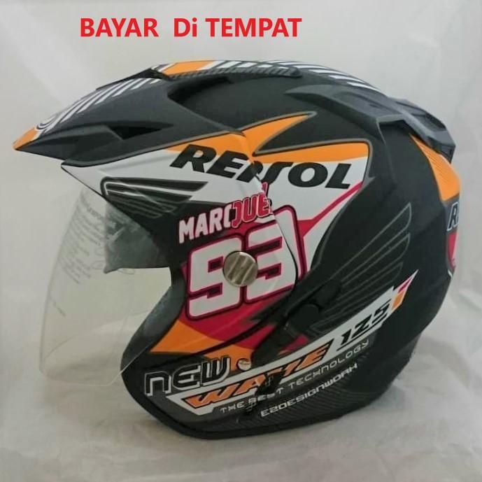 [Promo Best Seller] Helmet Double Visor Dua Kaca Helem Repsol 93 Doff Kualitas Setara helm KYT INK GM WTO MSR BMC NHK