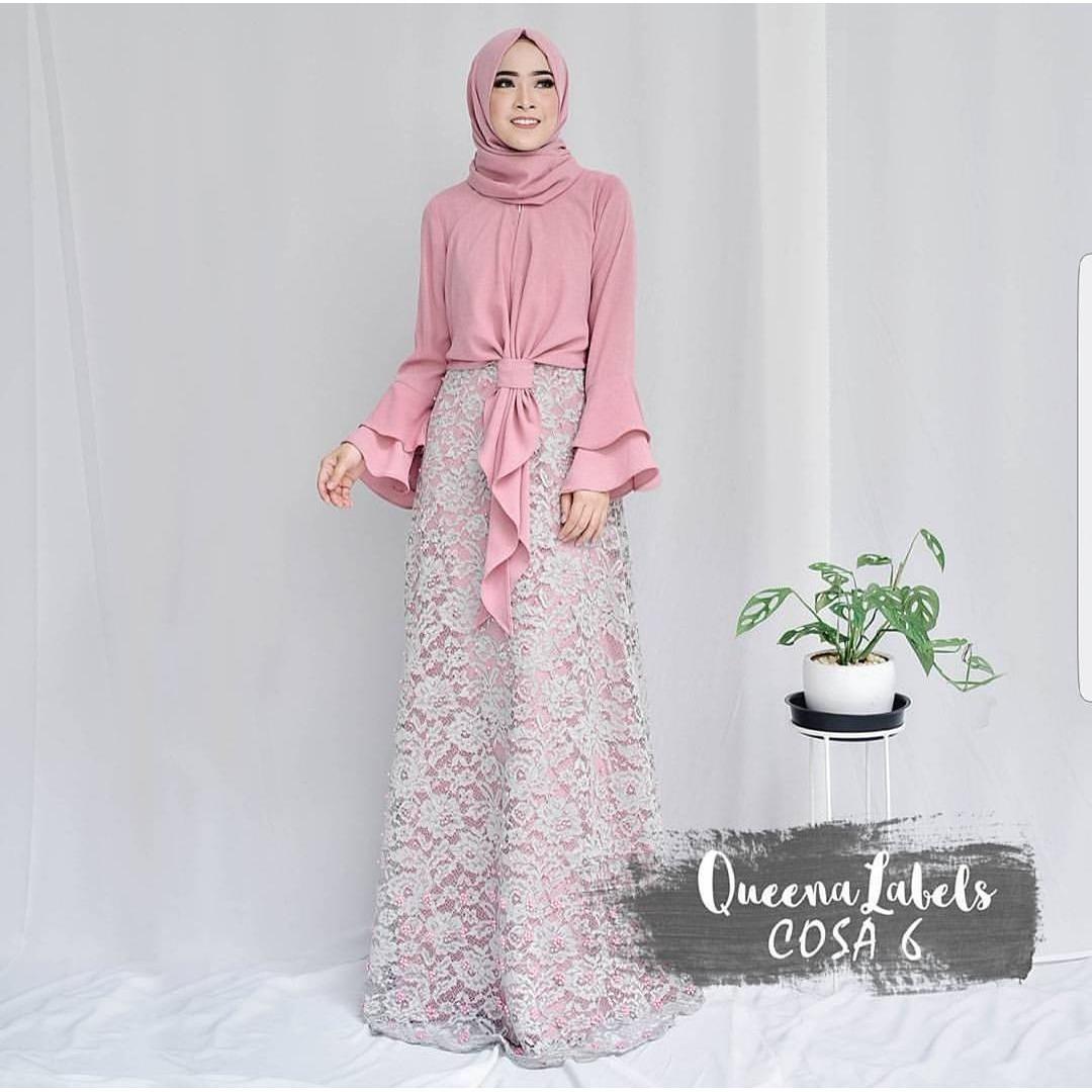 Baju Original Cossa Maxi Dress Muslim Modern Panjang Hijab Fashion Perempuan Casual Gamis Pakaian Wanita Terbaru Tahun 2018