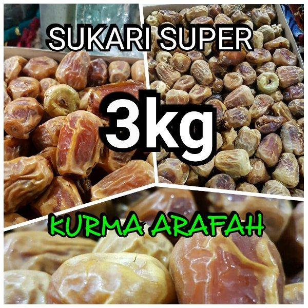 Kurma Sukari 3 Kg Premium Kering Grade A Super Saudi By Jokul.