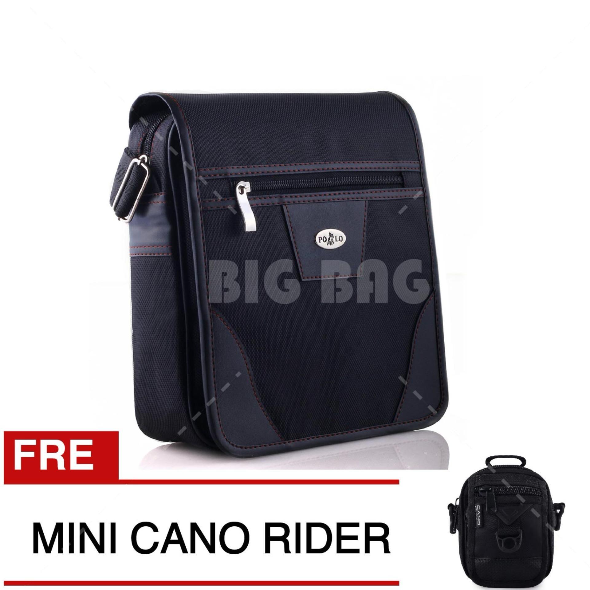 Tas Selempang Pria Wanita Polo USA Harbour Black HR01 FREE Tas Mini Cano
