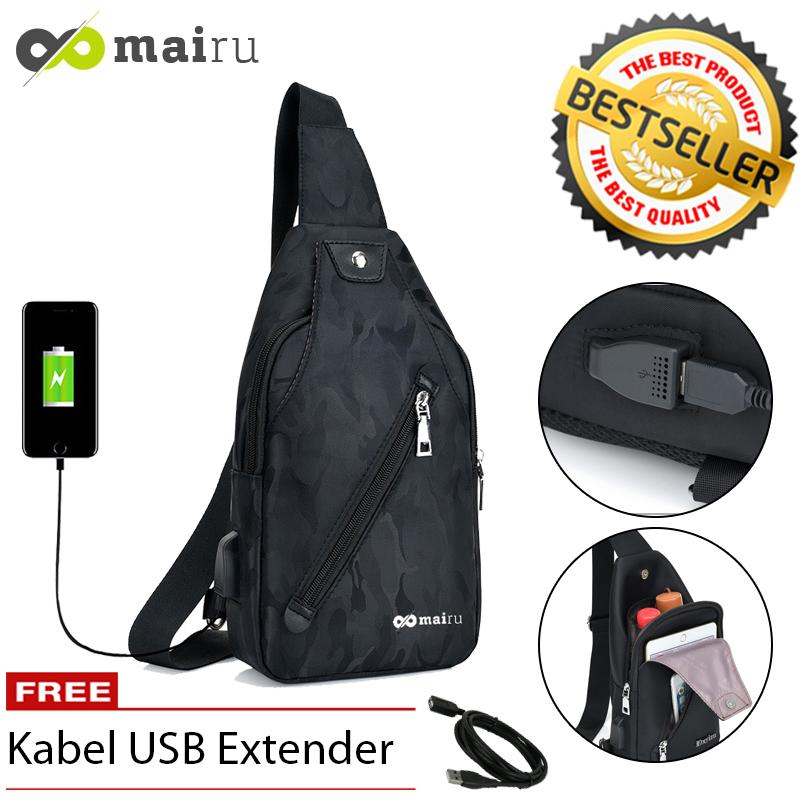 Mairu DxYiZu 533 Tas Selempang Pria Sling Bag Cross Body With  USB Charger Support  For Iphone Ipad