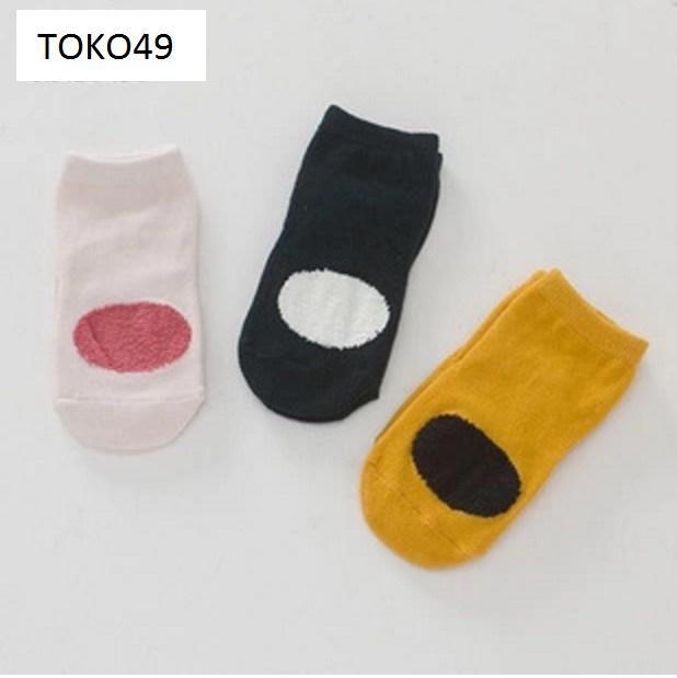 Kaos kaki panjang anak balita laki cewe motif bundar lucu murah ACA016 - S 0-2 Tahun, Pink