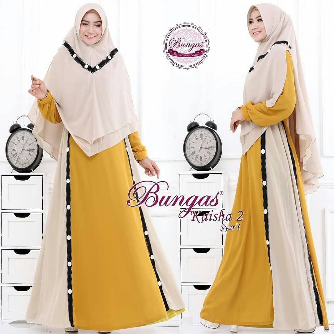 Assyifashop - Gaza Syari Dress Panjang Baju Gamis Wanita Muslim Berhijab Dress+Khimar Trendy Terupdate Termurah Fashionable