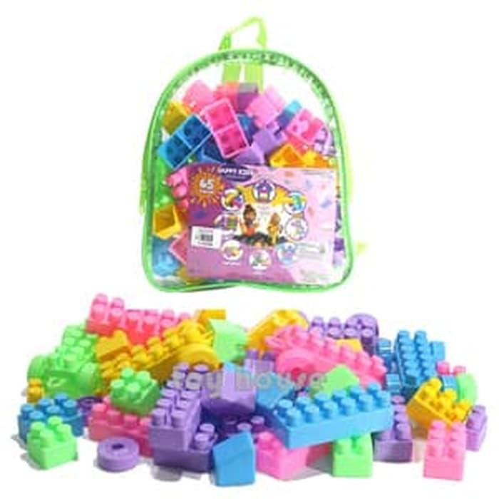 Mainan Edukasi Anak - Happy Kids Block Lego Building Blok Isi 65Pc Tas