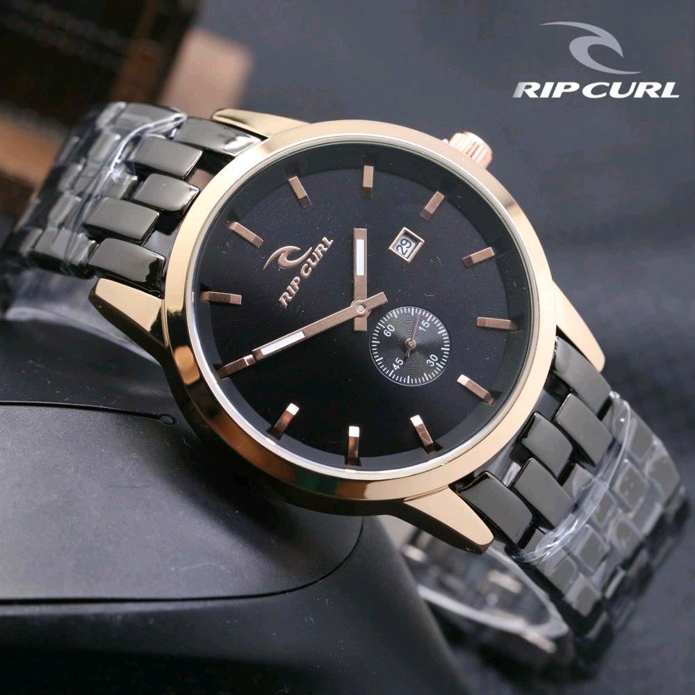 RIpcurl Detroit Rantai Jam Tangan Pria Fashion Sporty Detik Bawah Tanggal Aktif Stainless Steel Limited Edition
