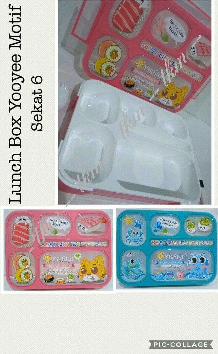 Best Top Seller!! Lunch Box Motif \U002F Grid \U002F Sekat 6 \U002F Tempat Makan \U002F Kotak Bekal