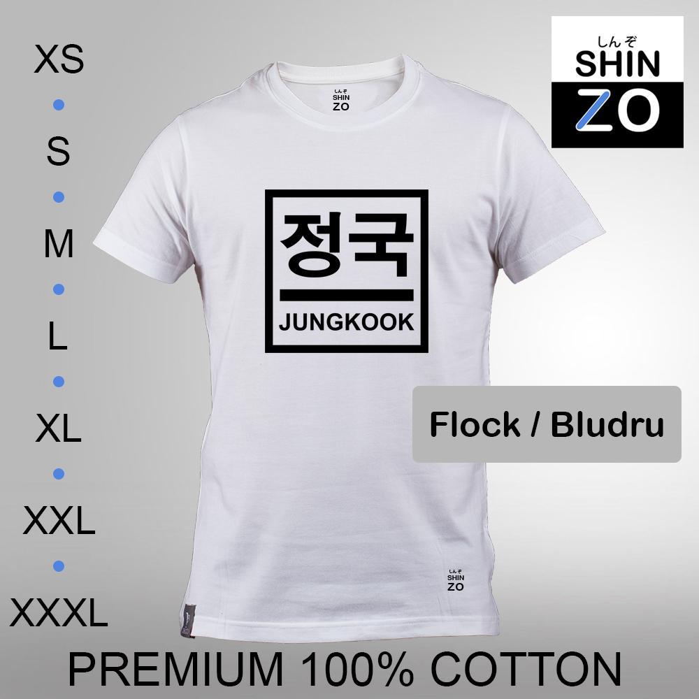 Shinzo Design - Kaos Oblong Distro T Shirt Tee Casual Fashion Atasan Cloth Anime Custom - Premium Cotton Combed 30s Ring Spun Export Quality - Pria - BTS Bangtan Sonyeondan Jeon Jung Kook - White Putih