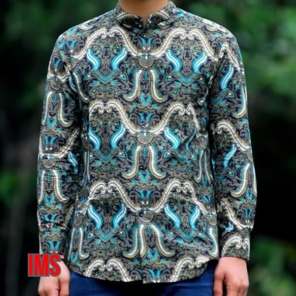 New Baju Batik Cowok Kerja Kantor Kemeja Batik Pria Modern Lengan Panjang Model Batik Terbaru