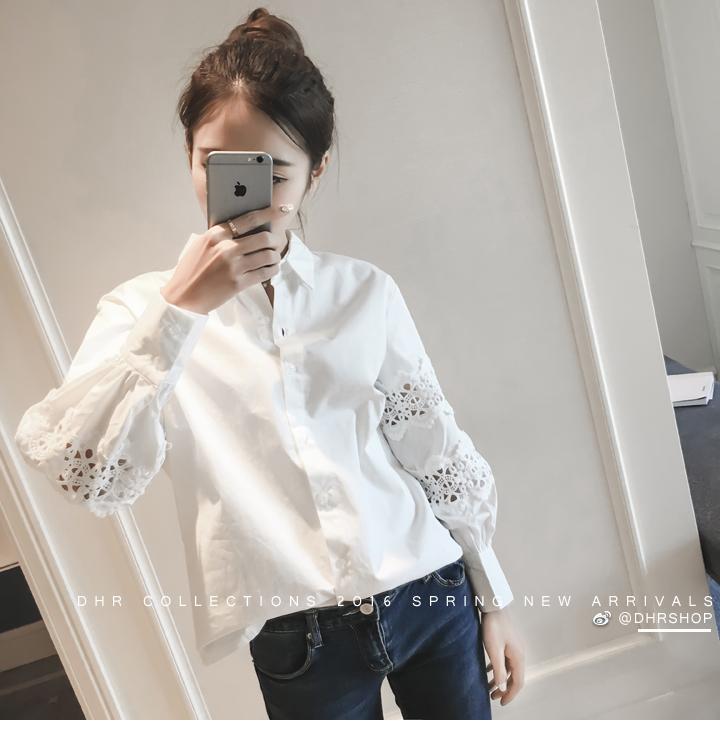 Versi Korea 2016 Model Baru Dasi Kupu-kupu Netral Seragam Formal Casual Kemeja Lengan Panjang Baju Dalaman Pita Senam Kemeja Siswa Perempuan