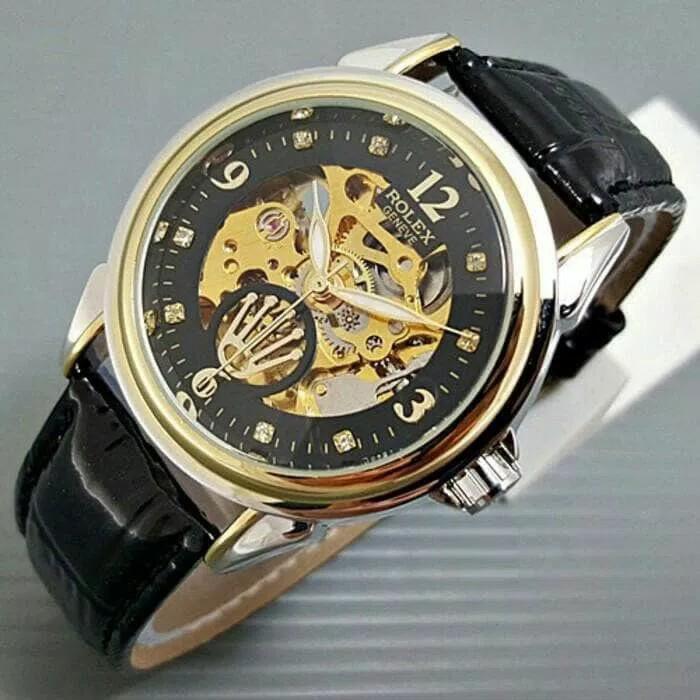 HARGA SPESIAL!!! Jam Tangan Rolex Automatic / Otomatis Combi Gold-Black Kulit Hitam