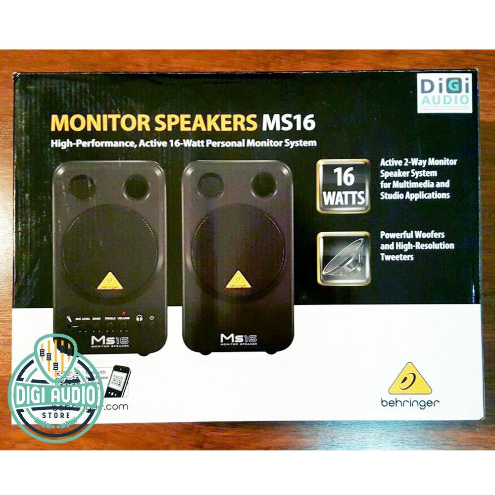 Speaker Monitor Behringer MS16 [ ms 16 ] Studio recording / speaker komputer 16 watt Terdapat input Mic / Microphone dan Headphone / [ PRODUK ORIGINAL , GARANSI RESMI 1 TAHUN