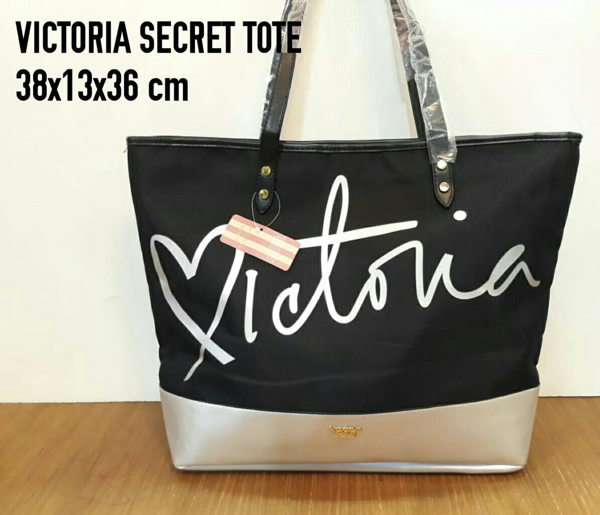 Victoria Secret Tote Bag Parasut Black Silver