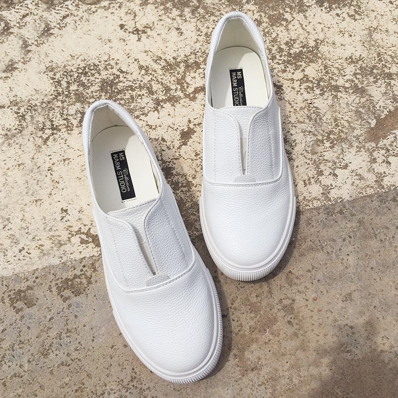 Satu Kaki Deng Sepatu Wanita Semi Kulit Han Fan Ini Adalah Kecil Sepatu Putih Tebal Bawah 100 Mengambil Daftar Sepatu mahasiswa Pemalas Datar Bawah Joy Sepatu Santai Wanita 5 Dolar-Intl