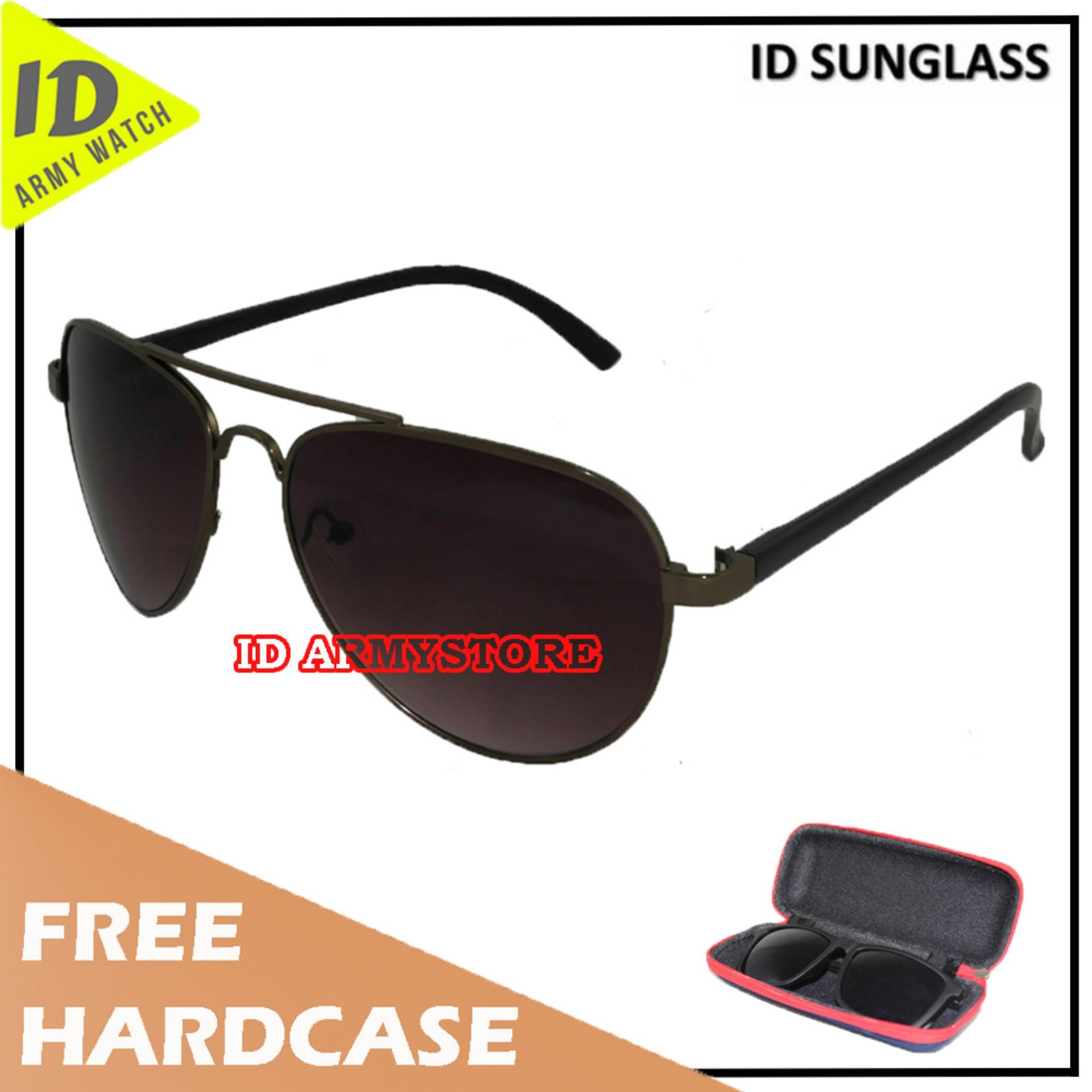 ID Sunglass - Kacamata Aviat Pria Wanita - Frame Hitam - Lensa Coklat SUN 1003-02