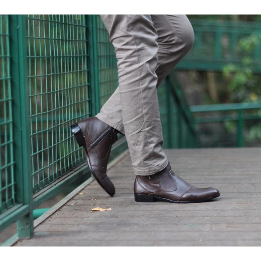 B A E WEAH Sepatu Pantofel Resleting / Sepatu Kulit Asli Pria Pantofel