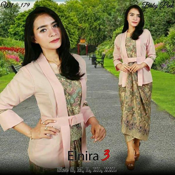 Setelan baju batik wanita- kebaya Modern kutu baru & rok lilit. Elnira 1. keluaran terbaru