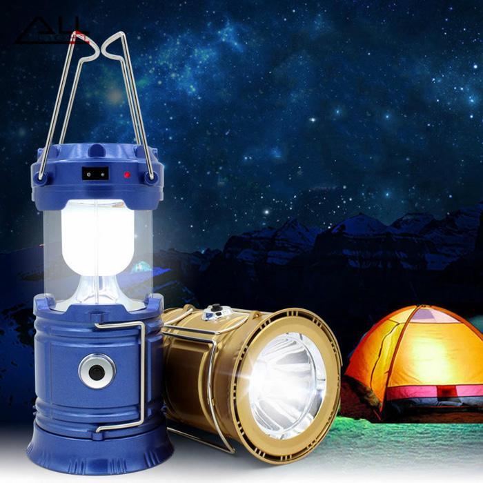 Lampu Camping LED Emergency + Powerbank Multifungsi Lentera Tarik Solar Cell dan USB Mini