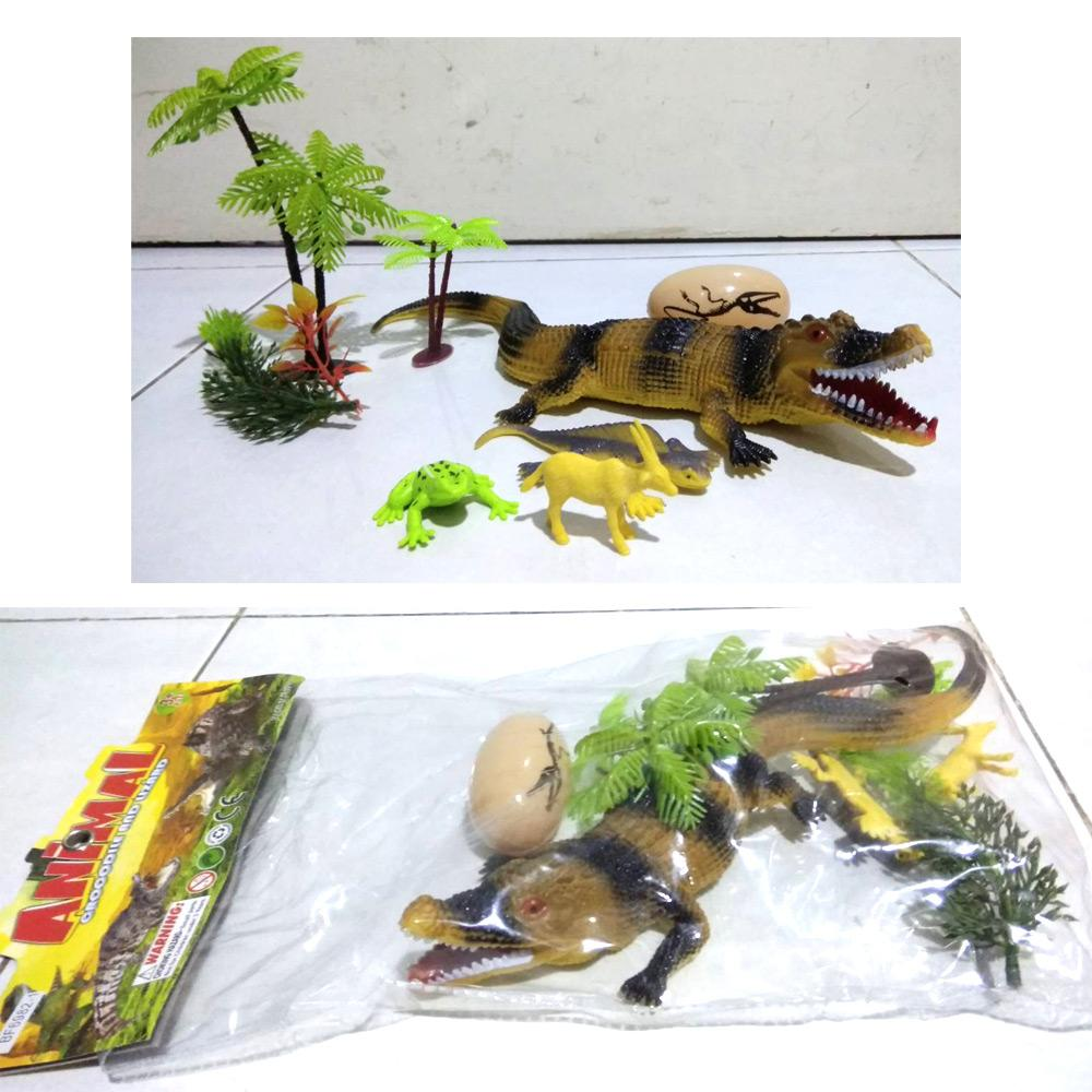 Mainan figure karet buaya besar 1 pcs set - Animal crocodile BF6982