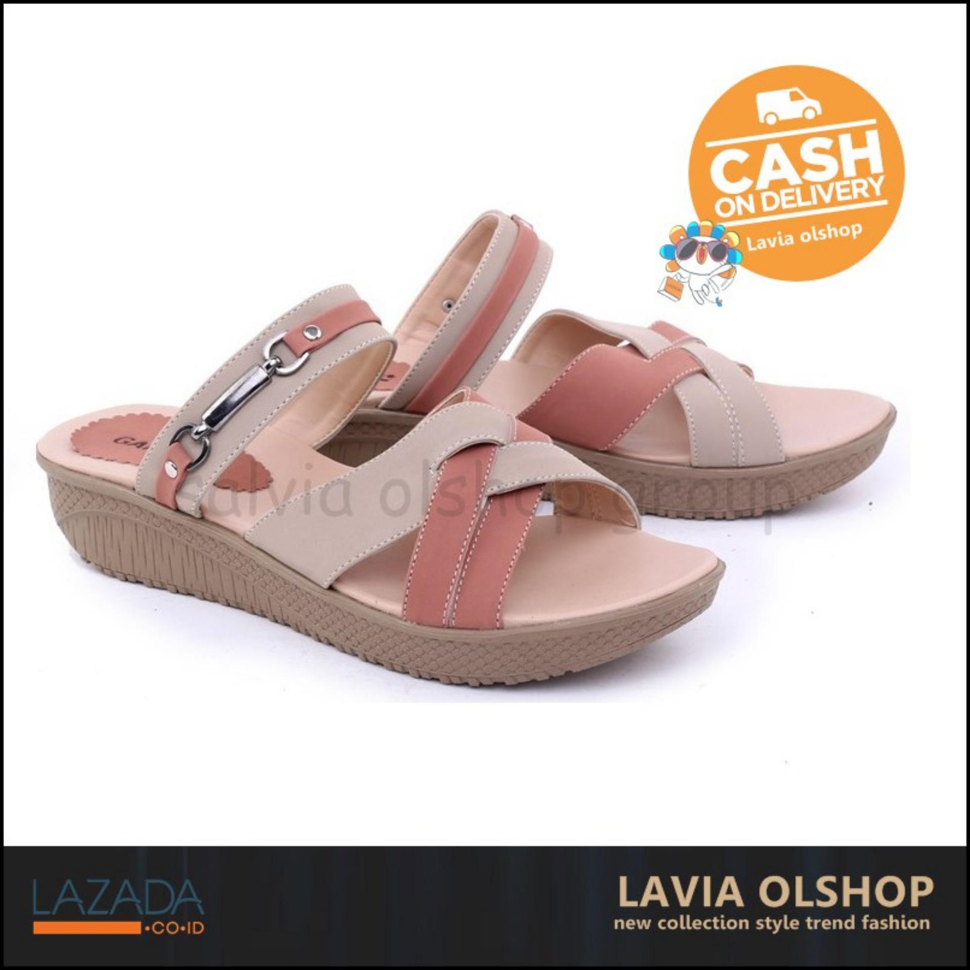 Shoes Sandal Flat Wanita Lucu Dan Keren Model Terbaru GJS 8272 - Cream