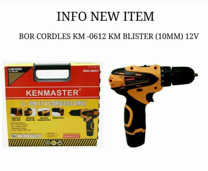 MESIN BOR BATERAI KENMASTER KM0612 - BOR CORDLESS KENMASTER - CHARGER