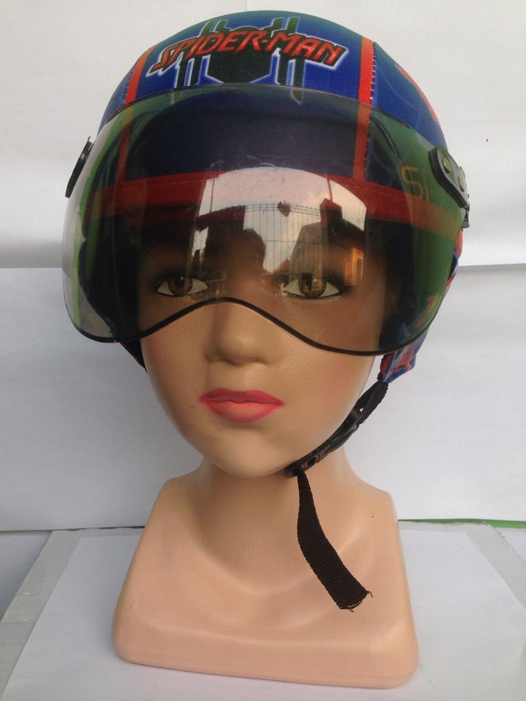 helm yg bikin gokil keren abis usia 1-5 tahun+kaca/spederman printing biru