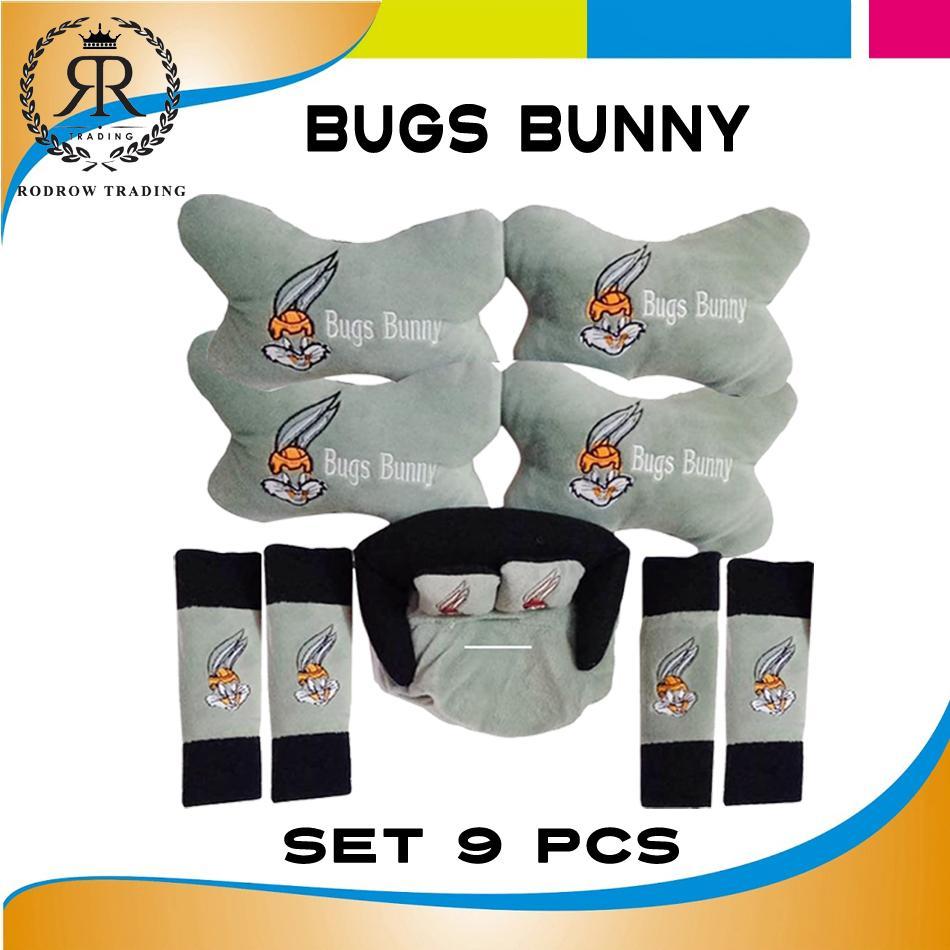 Bantal Mobil Bugs Bunny Set 9 pcs / Bantal Jok Mobil Bugs Bunny Set 9 pcs