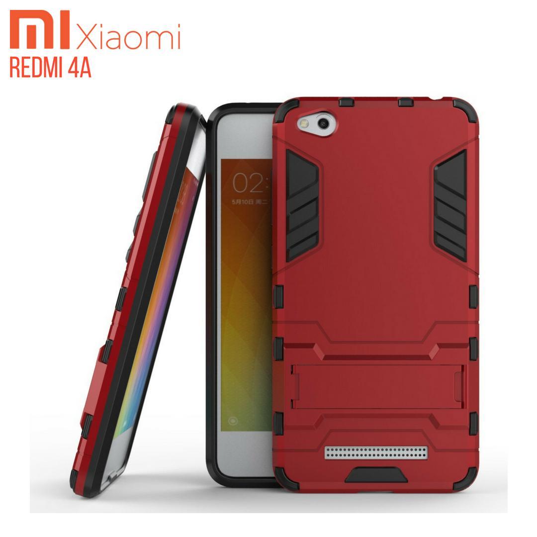 Xiaomi Redmi 4A Case Ironman Hybrid With Kick Stand - Merah