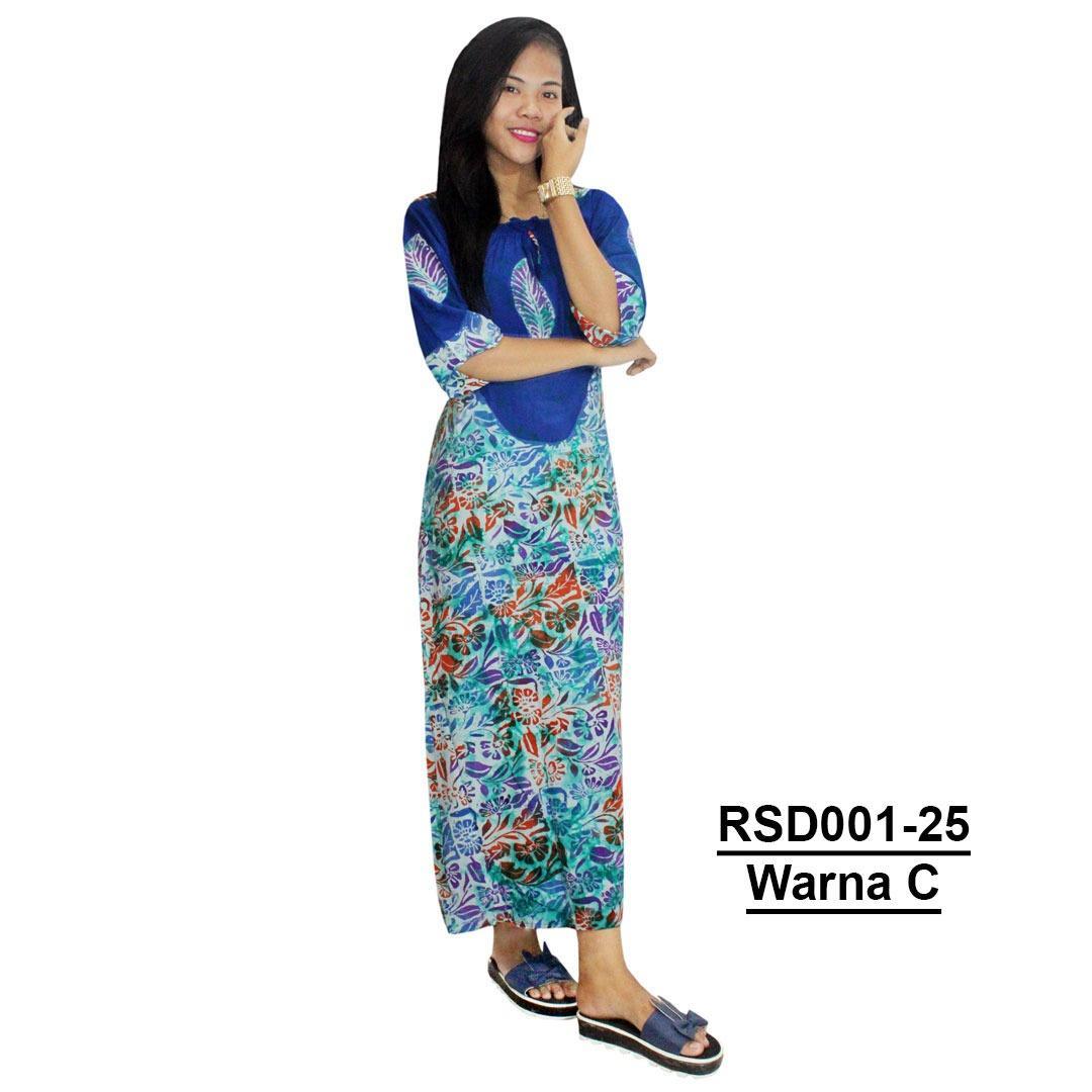 Sekdres Lengan 7/8 Batik Cap Halus Pekalongan, Baju Tidur, piyama, Leher Kerut (RSD001-25) Batik Alhadi