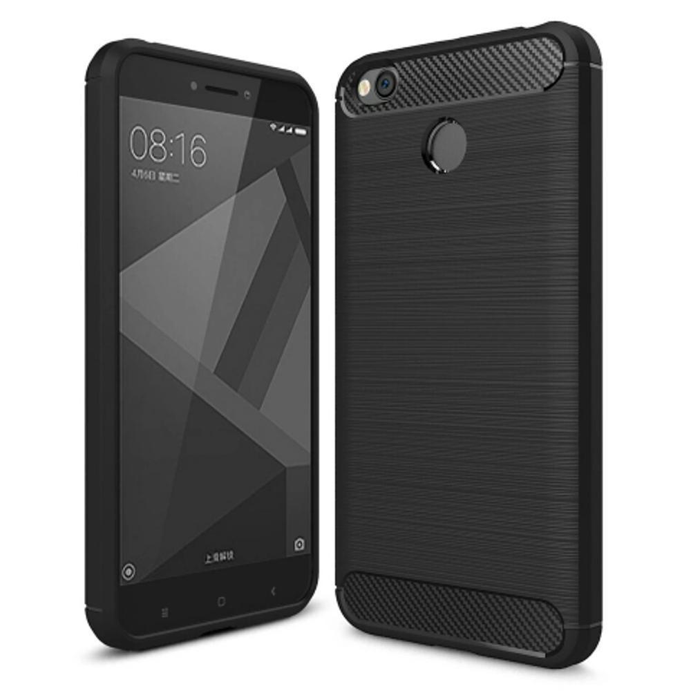 Softcase iPaky Carbon Fiber Shockproof Hybrid Case for Xiaomi Redmi 4X - Hitam