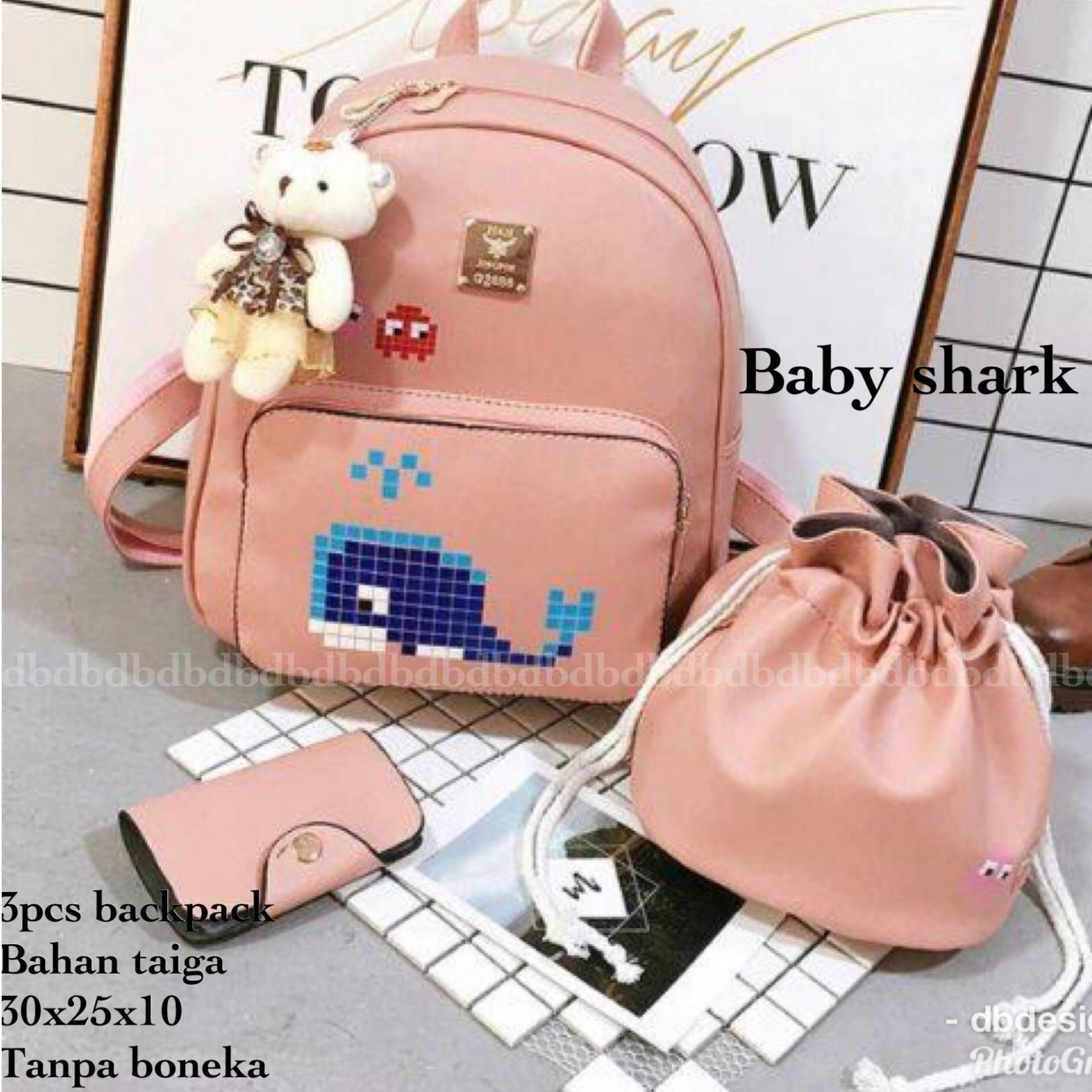 Tas BACKPACK/Ransel/TAS MINI BACKPACK/Tas Anak/Tas 3in1/Tas 4in1/TAS CROS BODY/TAS Drawstring backpack/Tas Messenger/Tas Chanel/Tas Dior/Tas FendI/Tas Louis Vuitton/Tas Prada/Tas Gucci/Tas murah ALL STAR 3PCS BACKPACK BLACK