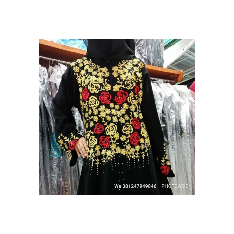 Baju Lebaran Abaya Butik Muslim Gamis Longdress Maxi Hijab Arab Saudi - Hitam, S