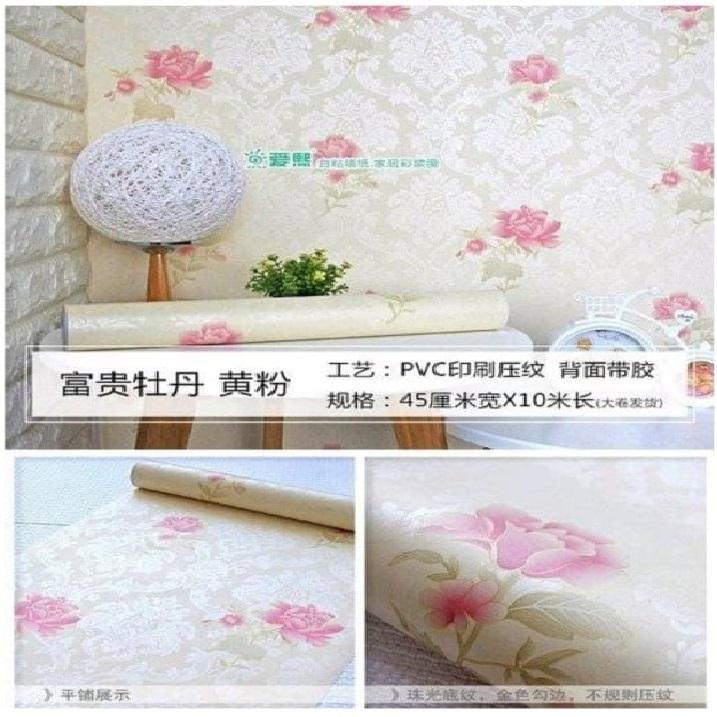 Sticker Wallpaper Premium Pvc - Walpaper Sticker Dinding Motif Nature (size 45cm X 10m) - Mawar Pink
