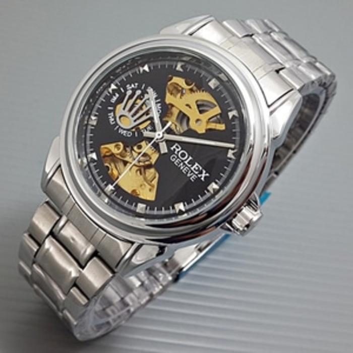 Jam Tangan Wanita / Jam Tangan Pria Rolex Skeleton Geneve Rantai Silver Black