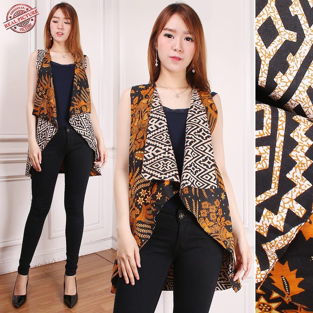 Cj collection Atasan blouse blazer bolero batik bolak balik wanita jumbo shirt Saras