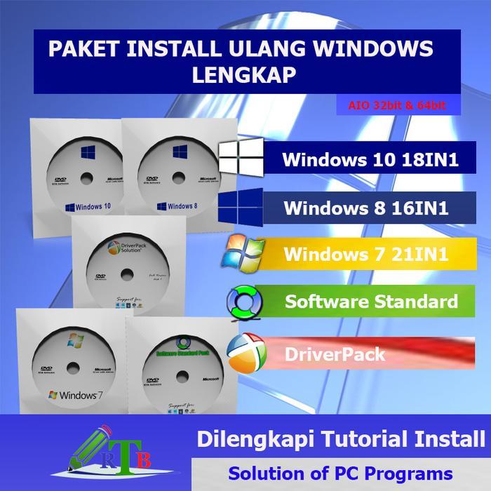Promo DVD Windows 10 8 7 install ulang lengkap software driver 32bit 64bit original