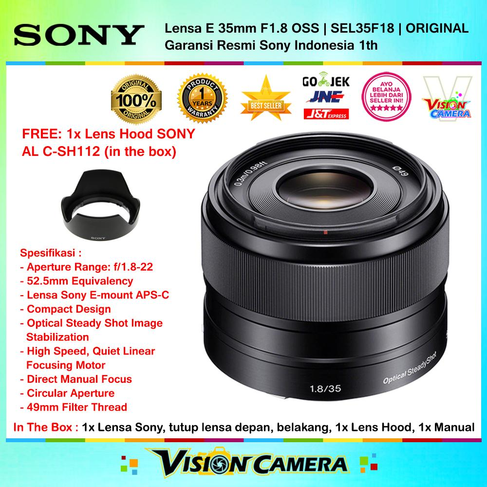 Sony 35mm f/1.8 OSS Alpha E-mount Prime Lensa Mirrorless for Sony Alpha 6000 a5100 a6300 - Garansi Resmi