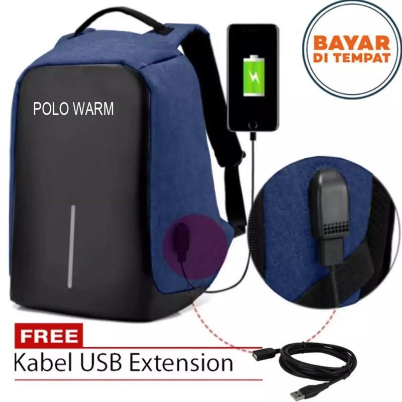 Polo Warm Tas Ransel Anti Maling Tas Ransel USB Tas Charger Tas Punggung Tas Laptop Tas Ransel Pria 8892 BKZ Size 18 Inchi Original Polo