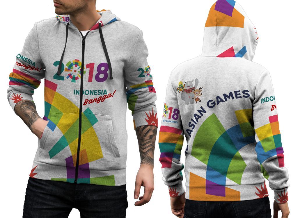 Jaket Sweater Hoodie Zipper Fullprint Custom Asian Games 2018 Indonesia Bangga
