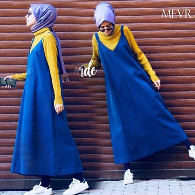 DAMAI FASHION JAKARTA - 2in1 overall muslim wanita ZAHRA - konveksi baju murah tanah abang